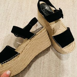 ❤️ SUPER BLACK SUEDE WEDGE ESPADRILLES‼️